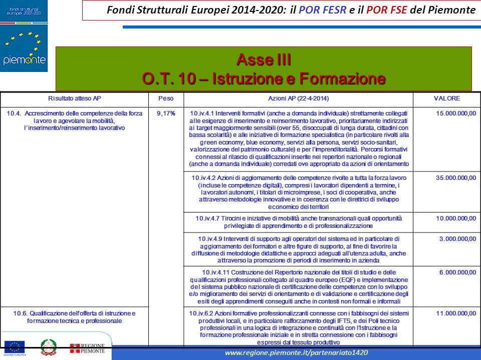 Asse III O.T. 10 – Istruzione e Formazione
