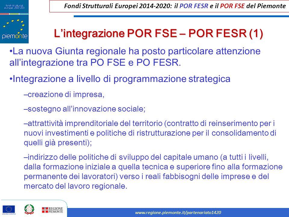 L'integrazione POR FSE – POR FESR (1)