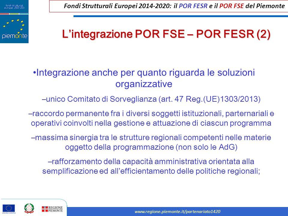 L'integrazione POR FSE – POR FESR (2)