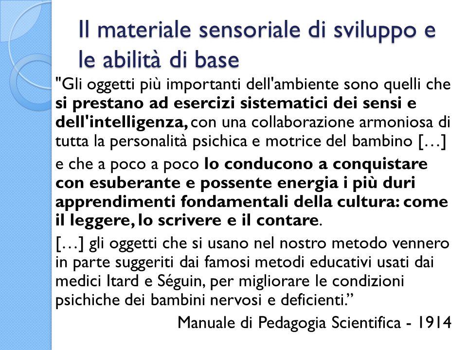 Il materiale sensoriale di sviluppo e le abilità di base