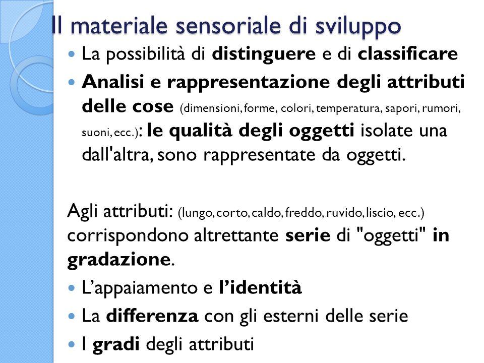 Il materiale sensoriale di sviluppo