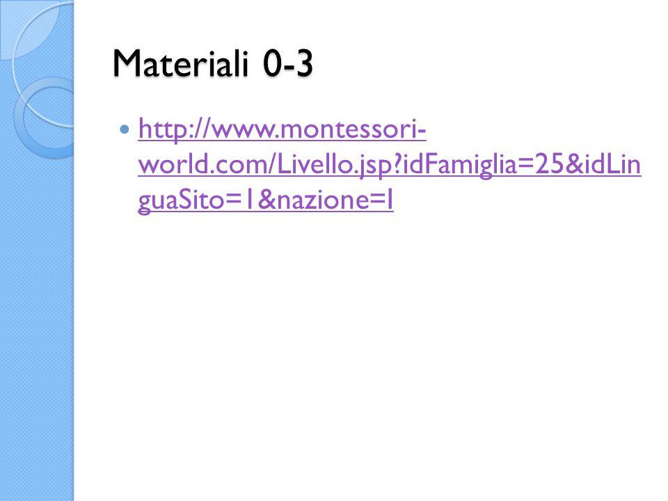 Materiali 0-3 http://www.montessori- world.com/Livello.jsp idFamiglia=25&idLin guaSito=1&nazione=I