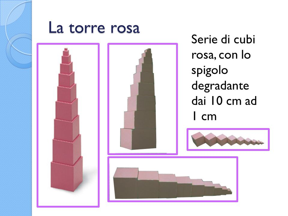 La torre rosa Serie di cubi rosa, con lo spigolo degradante dai 10 cm ad 1 cm