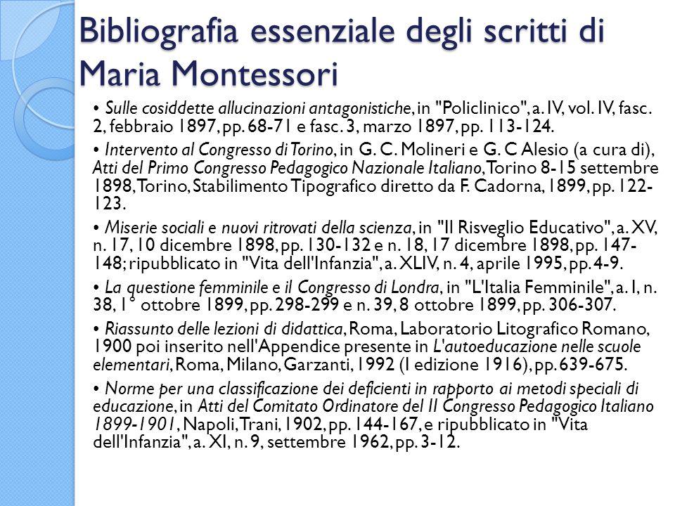 Bibliografia essenziale degli scritti di Maria Montessori