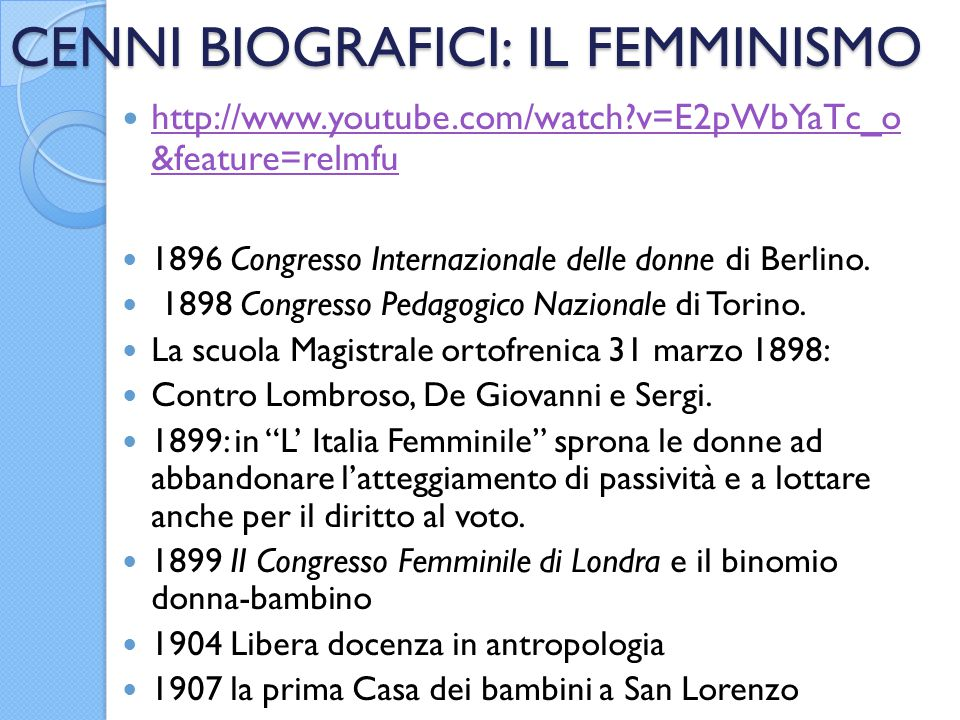 CENNI BIOGRAFICI: IL FEMMINISMO