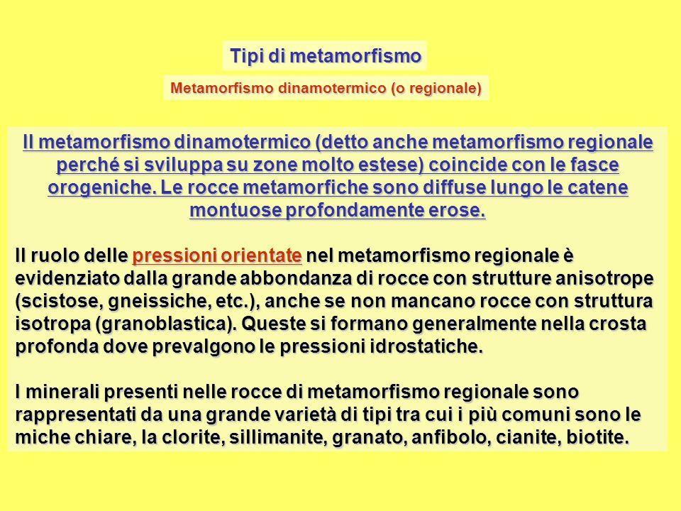 Tipi di metamorfismo Metamorfismo dinamotermico (o regionale)