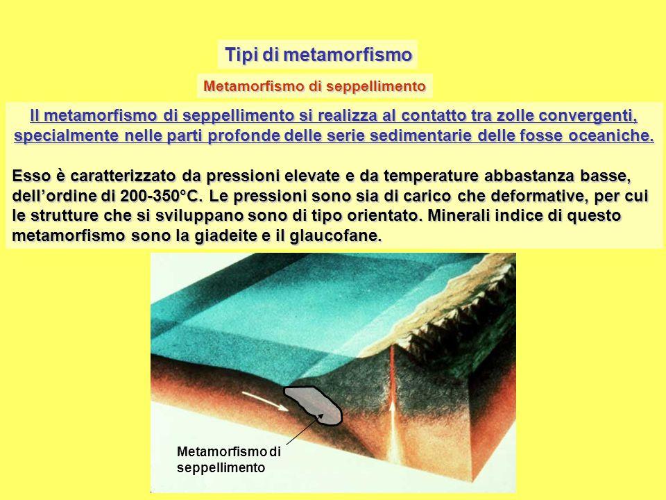 Tipi di metamorfismo Metamorfismo di seppellimento.