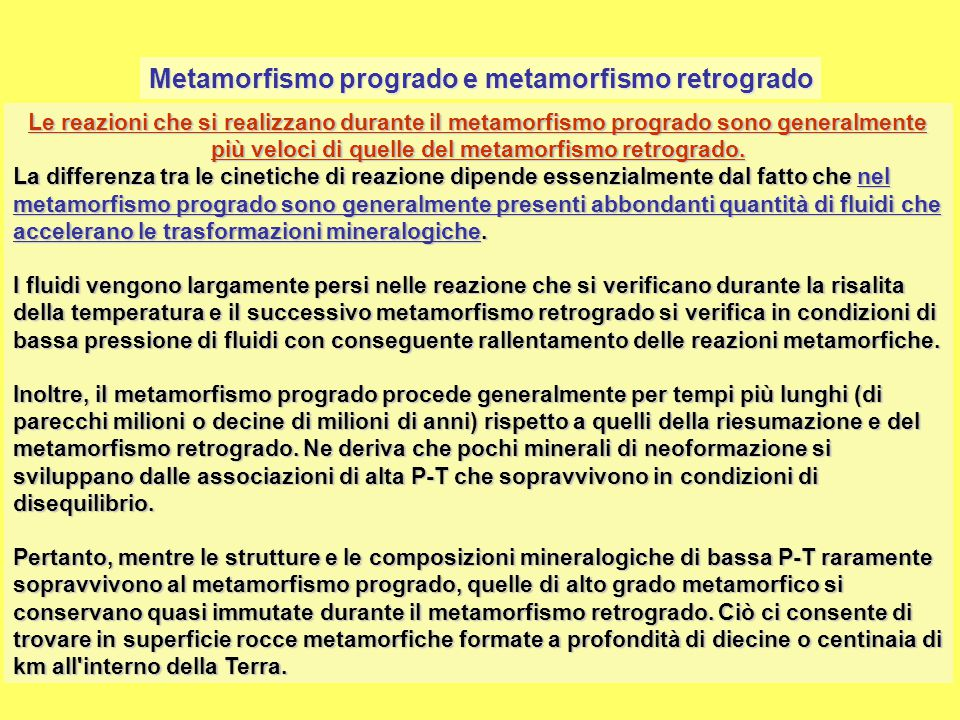 Metamorfismo progrado e metamorfismo retrogrado
