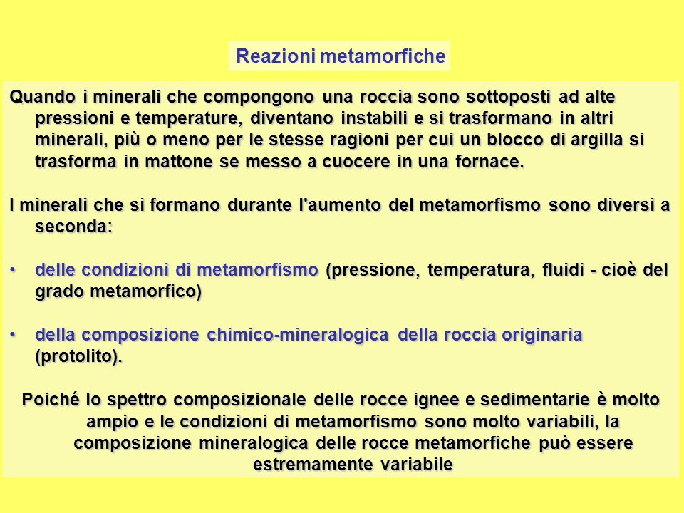 Reazioni metamorfiche