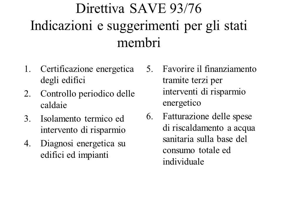Direttiva SAVE 93/76 Indicazioni e suggerimenti per gli stati membri