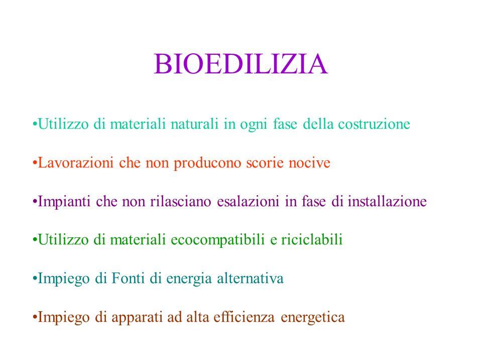 BIOEDILIZIA Utilizzo di materiali naturali in ogni fase della costruzione. Lavorazioni che non producono scorie nocive.
