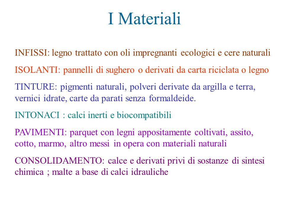 I Materiali INFISSI: legno trattato con oli impregnanti ecologici e cere naturali.