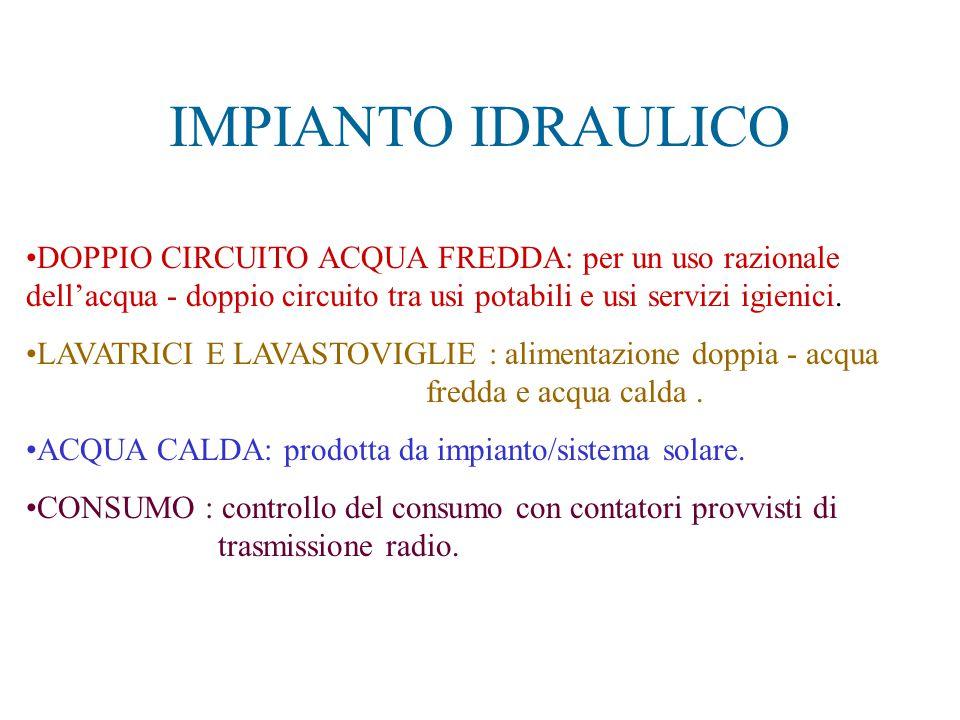 IMPIANTO IDRAULICO DOPPIO CIRCUITO ACQUA FREDDA: per un uso razionale dell'acqua - doppio circuito tra usi potabili e usi servizi igienici.
