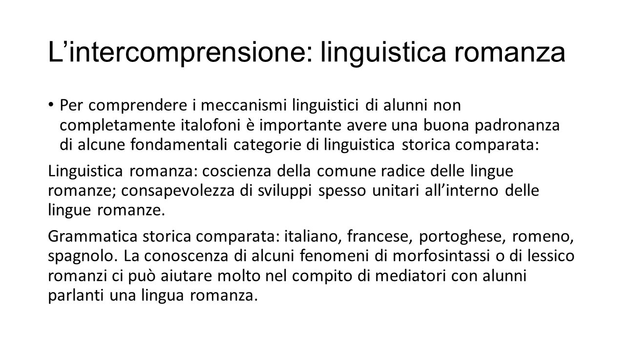 L'intercomprensione: linguistica romanza