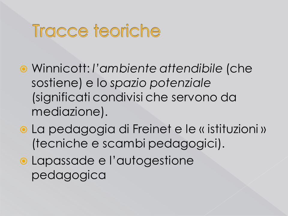 Tracce teoriche Winnicott: l'ambiente attendibile (che sostiene) e lo spazio potenziale (significati condivisi che servono da mediazione).