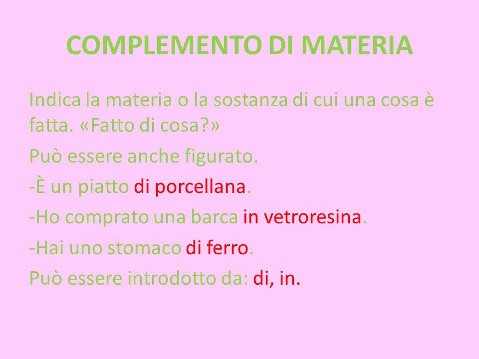 COMPLEMENTO DI MATERIA