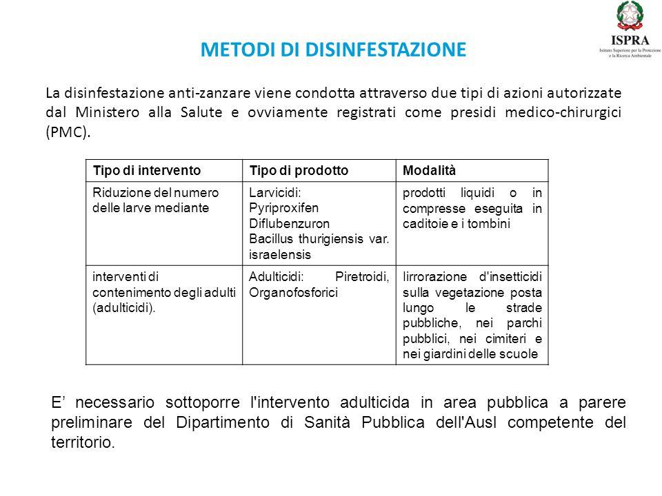 METODI DI DISINFESTAZIONE