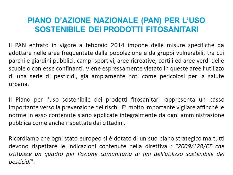PIANO D'AZIONE NAZIONALE (PAN) PER L'USO SOSTENIBILE DEI PRODOTTI FITOSANITARI