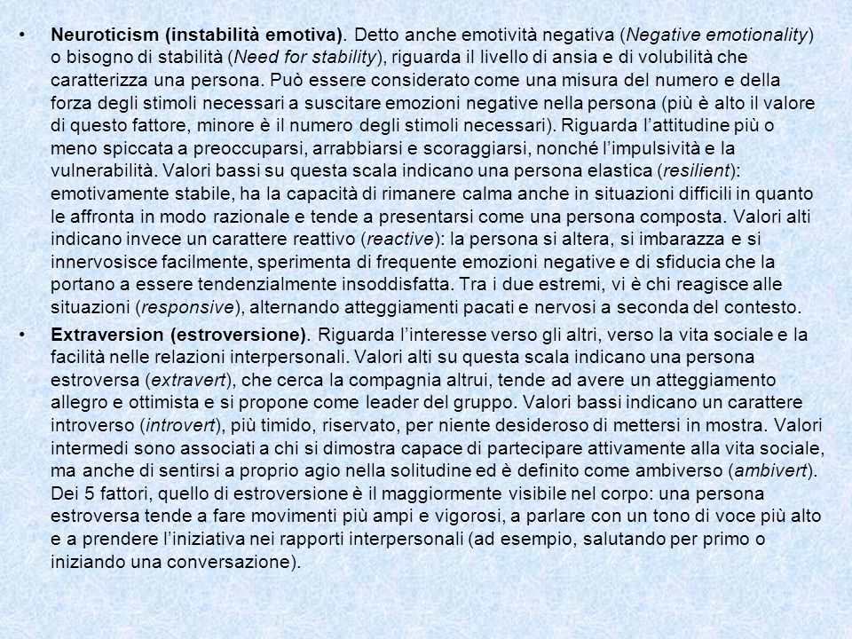 Neuroticism (instabilità emotiva)