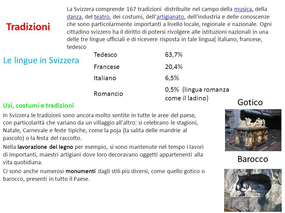Tradizioni Le lingue in Svizzera Gotico Barocco Tedesco 63,7% Francese