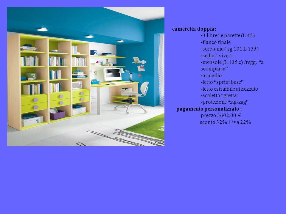 cameretta doppia: 3 librerie parette (L 45) fianco finale. scrivania ( sg 101 L 135) sedia ( viva )