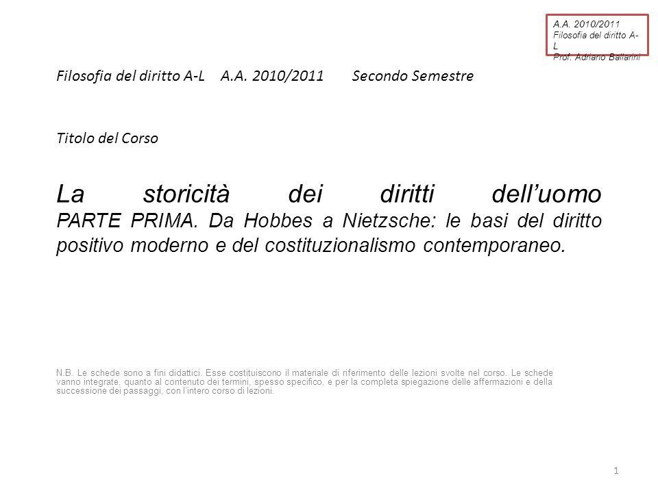 A.A. 2010/2011 Filosofia del diritto A-L. Prof. Adriano Ballarini. Filosofia del diritto A-L A.A. 2010/2011 Secondo Semestre.