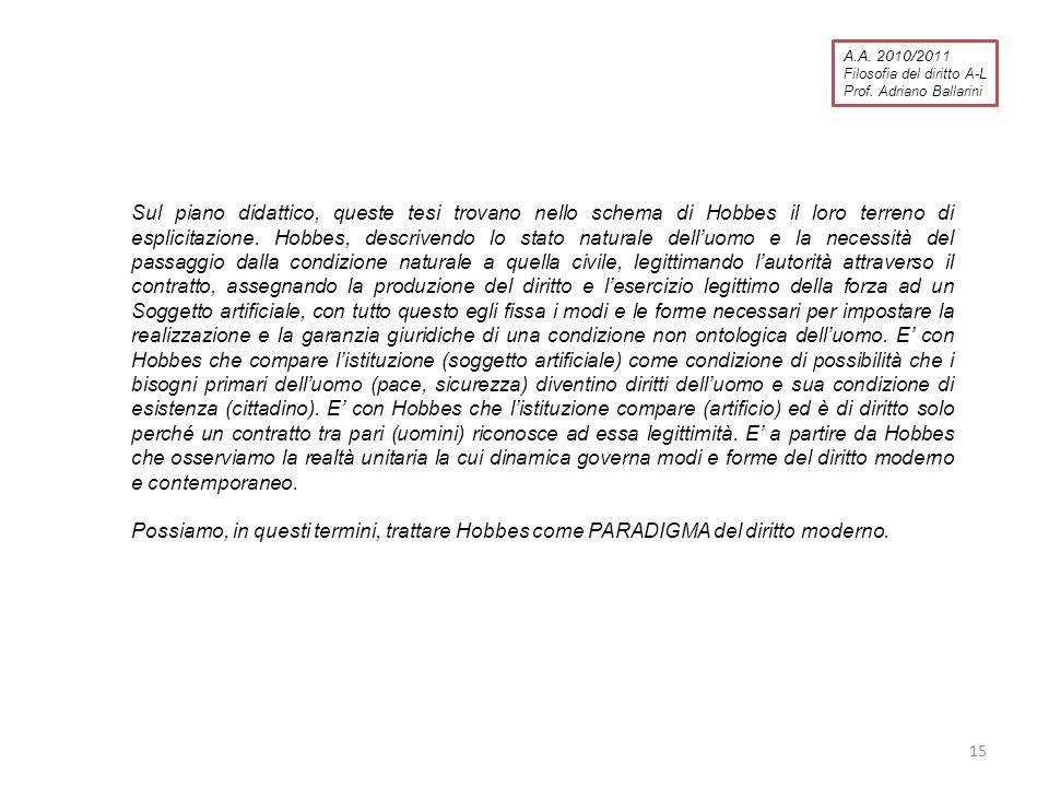 A.A. 2010/2011 Filosofia del diritto A-L. Prof. Adriano Ballarini.