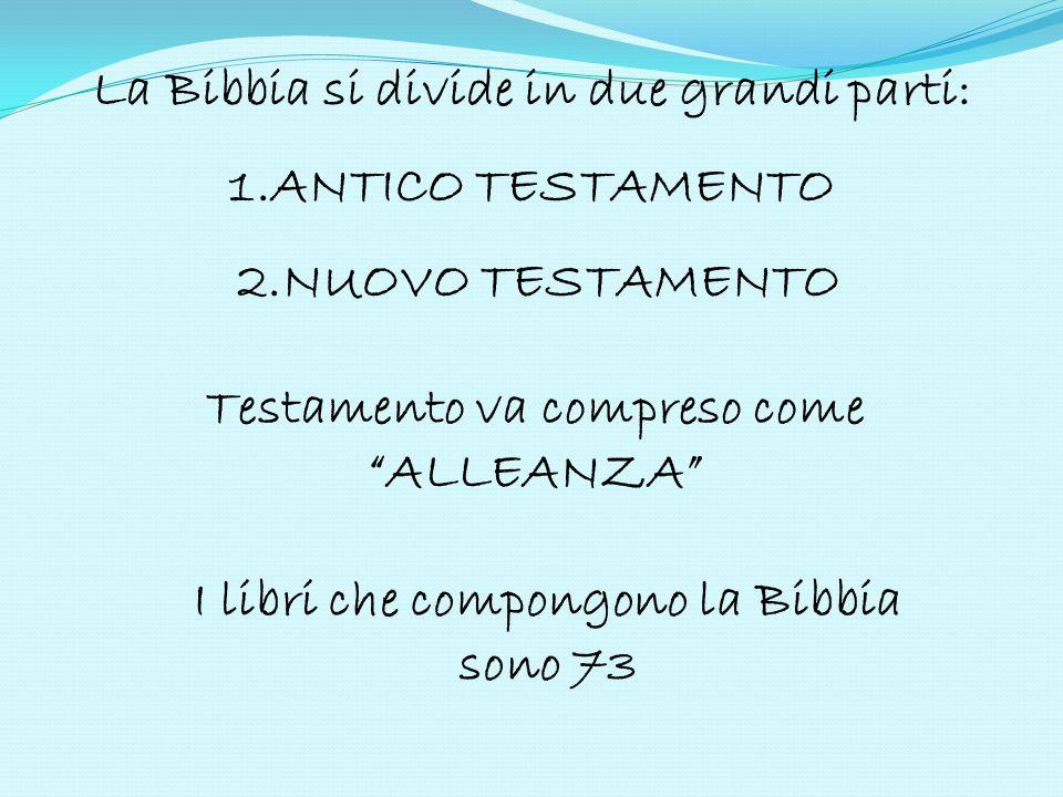 La Bibbia si divide in due grandi parti: 1.ANTICO TESTAMENTO
