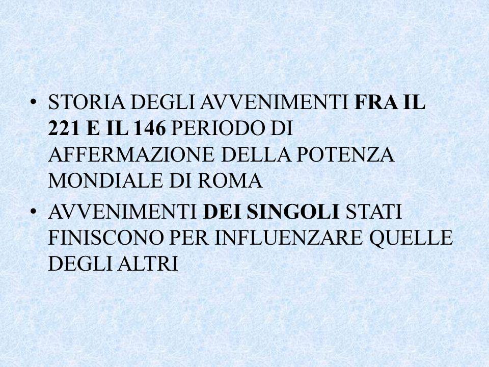 STORIA DEGLI AVVENIMENTI FRA IL 221 E IL 146 PERIODO DI AFFERMAZIONE DELLA POTENZA MONDIALE DI ROMA