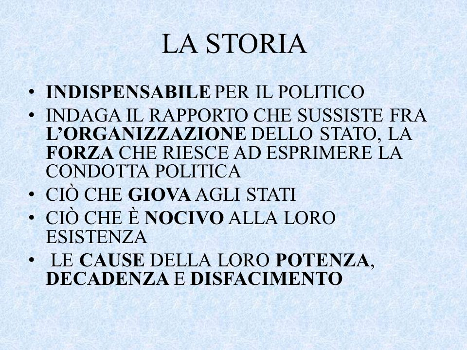 LA STORIA INDISPENSABILE PER IL POLITICO