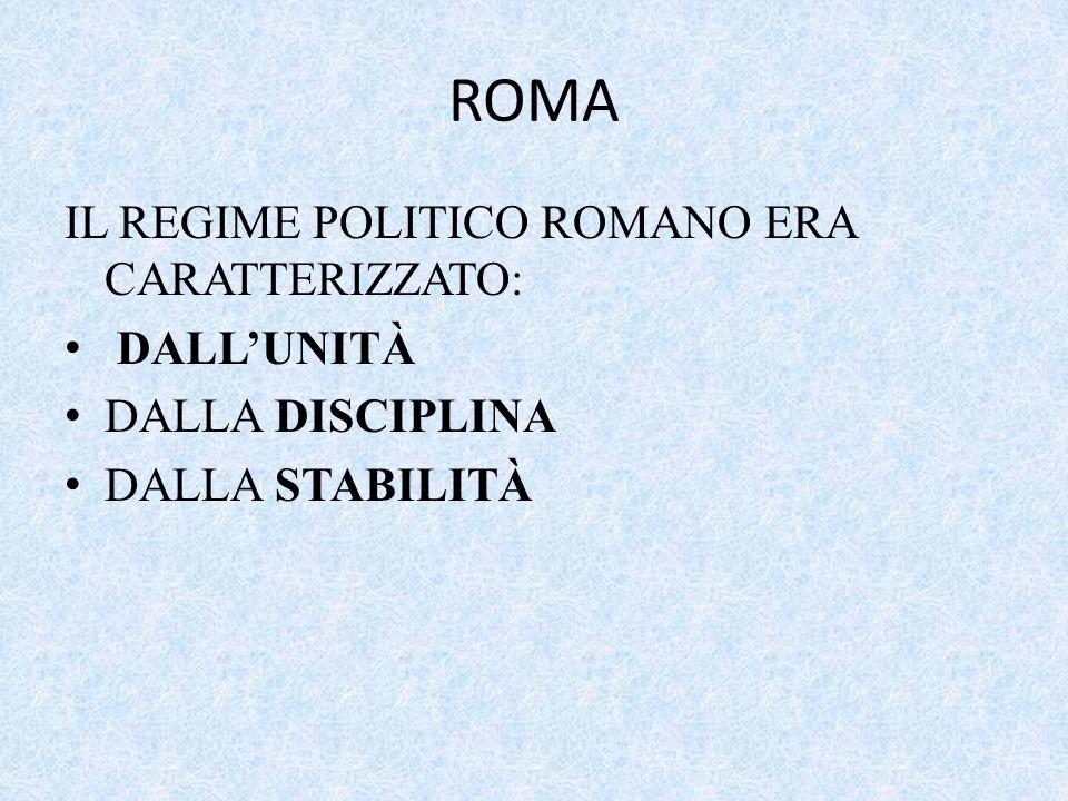 ROMA IL REGIME POLITICO ROMANO ERA CARATTERIZZATO: DALL'UNITÀ