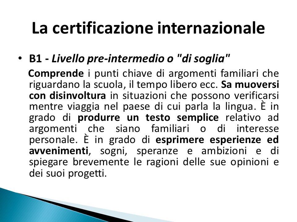 La certificazione internazionale