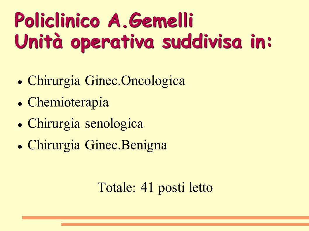 Policlinico A.Gemelli Unità operativa suddivisa in: