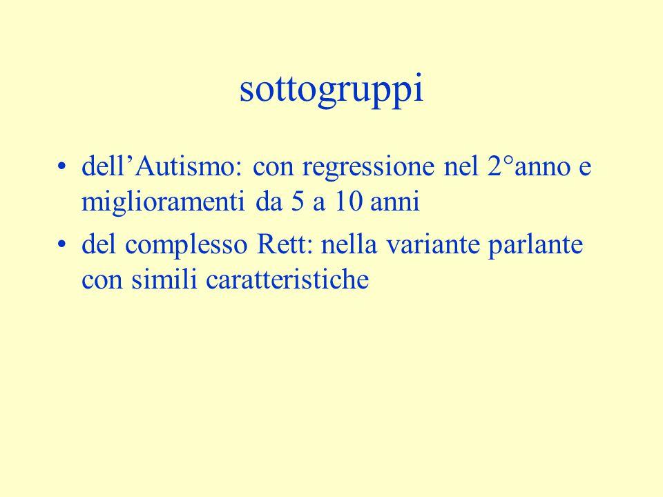 sottogruppi dell'Autismo: con regressione nel 2°anno e miglioramenti da 5 a 10 anni.