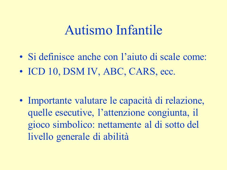 Autismo Infantile Si definisce anche con l'aiuto di scale come: