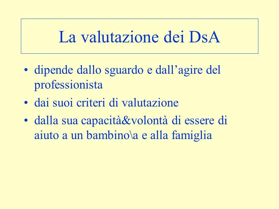 La valutazione dei DsA dipende dallo sguardo e dall'agire del professionista. dai suoi criteri di valutazione.