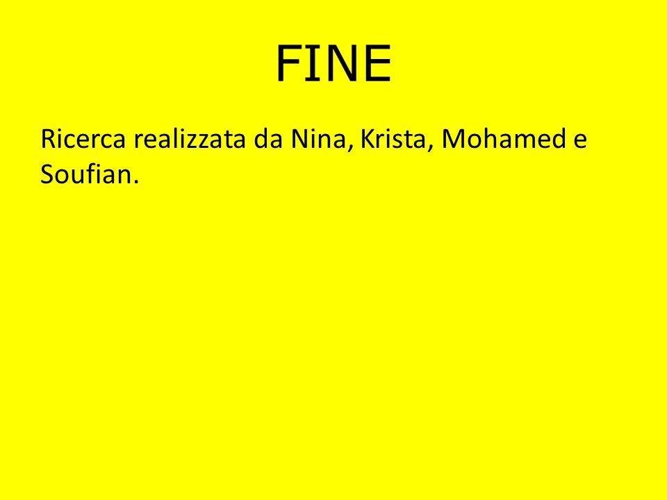 FINE Ricerca realizzata da Nina, Krista, Mohamed e Soufian.