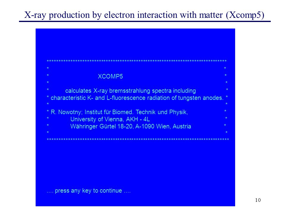 X-ray production by electron interaction with matter (Xcomp5)