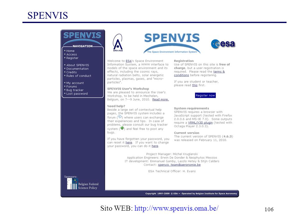 SPENVIS Sito WEB: http://www.spenvis.oma.be/