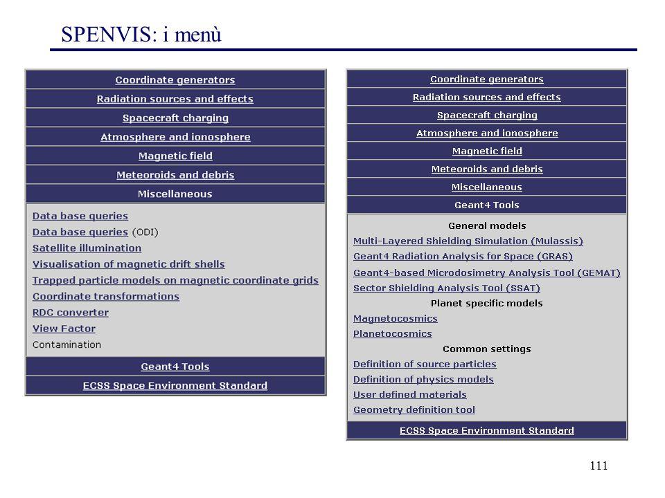 SPENVIS: i menù