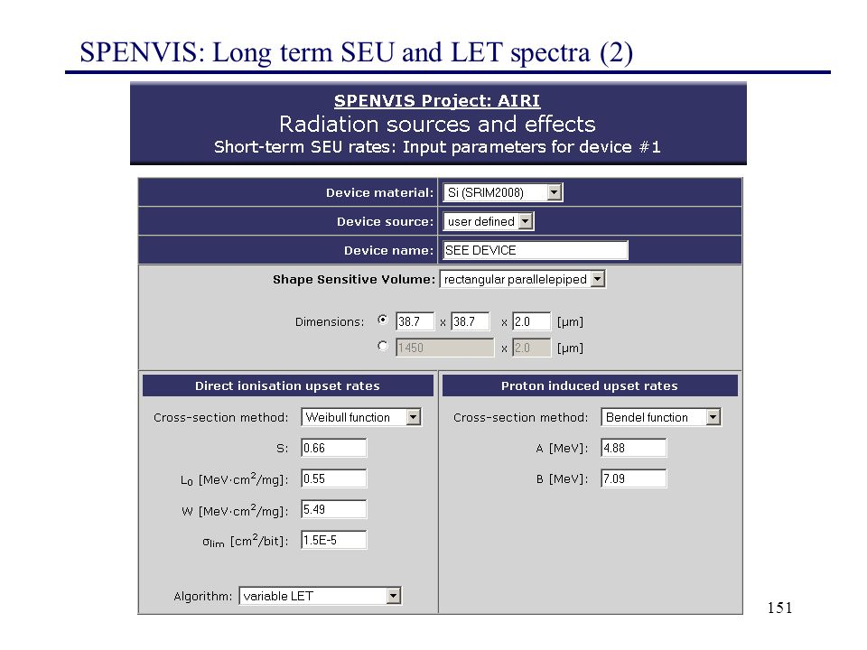 SPENVIS: Long term SEU and LET spectra (2)