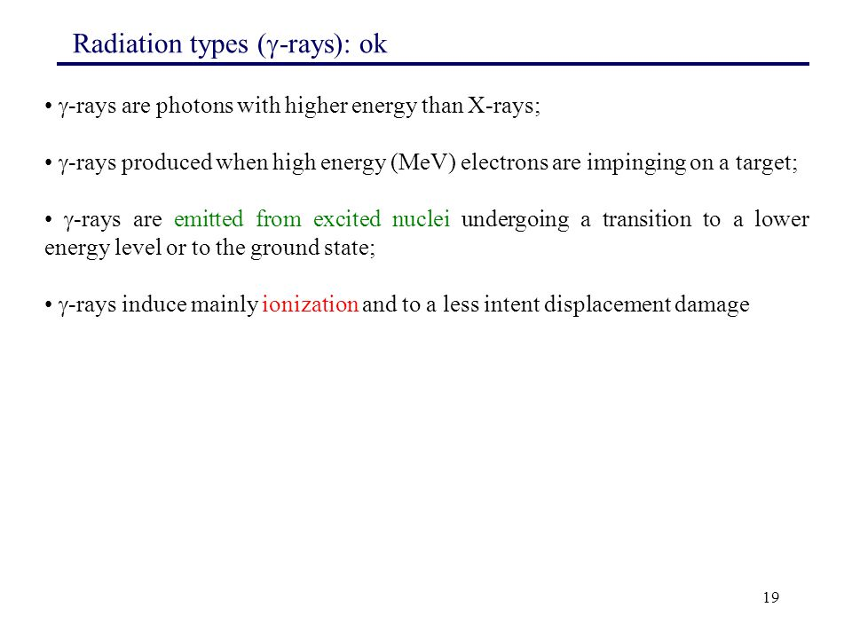 Radiation types (-rays): ok