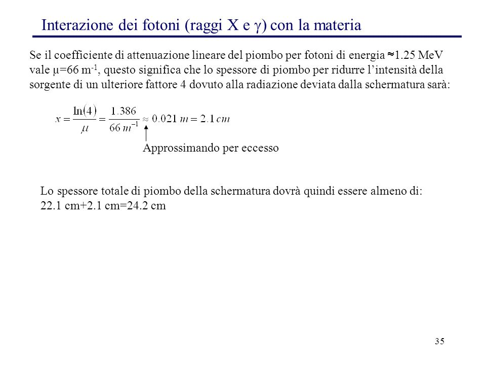 Interazione dei fotoni (raggi X e ) con la materia