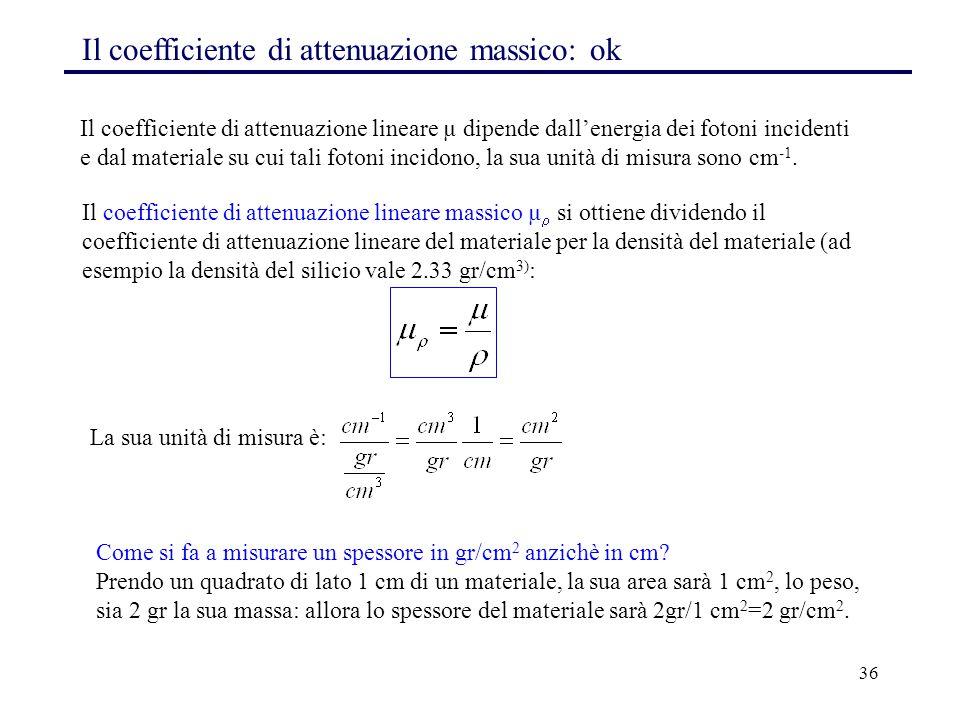Il coefficiente di attenuazione massico: ok