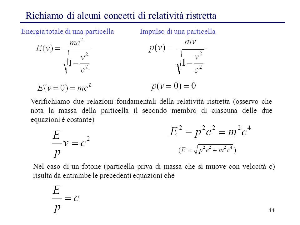 Richiamo di alcuni concetti di relatività ristretta