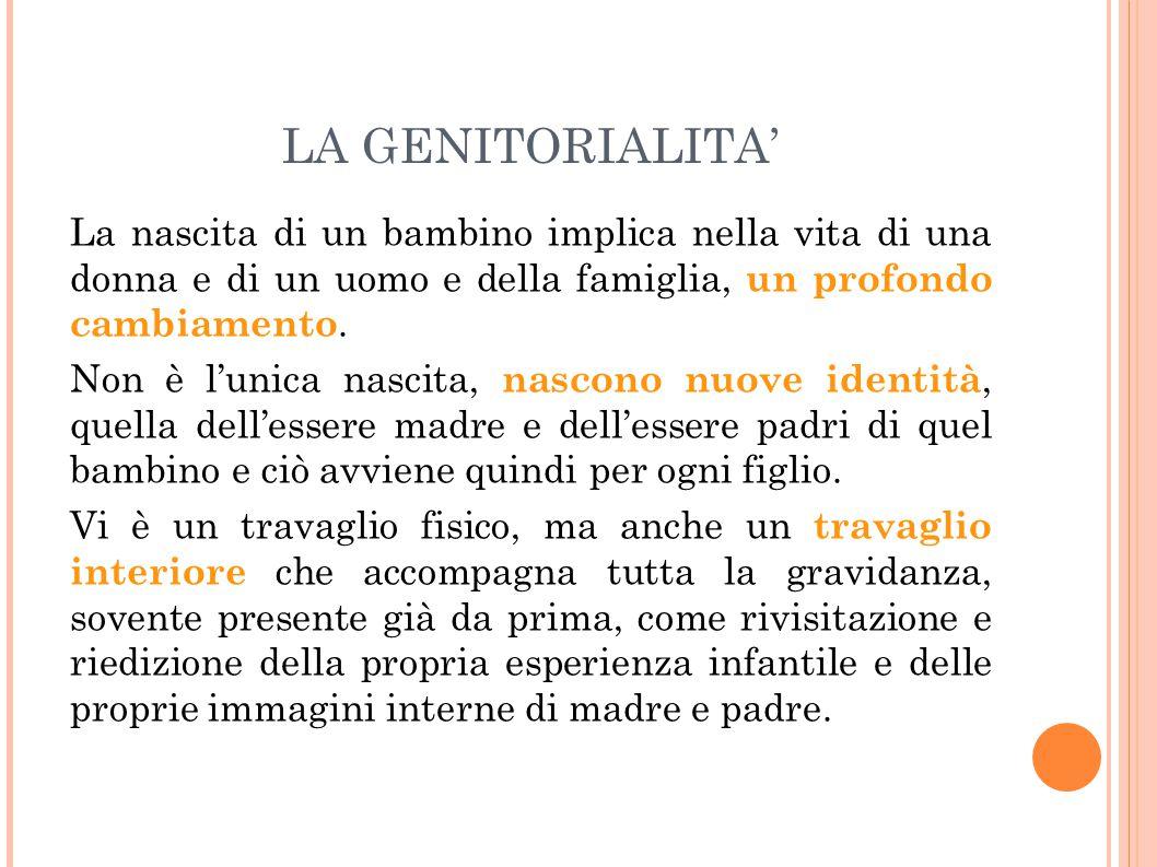 LA GENITORIALITA' La nascita di un bambino implica nella vita di una donna e di un uomo e della famiglia, un profondo cambiamento.