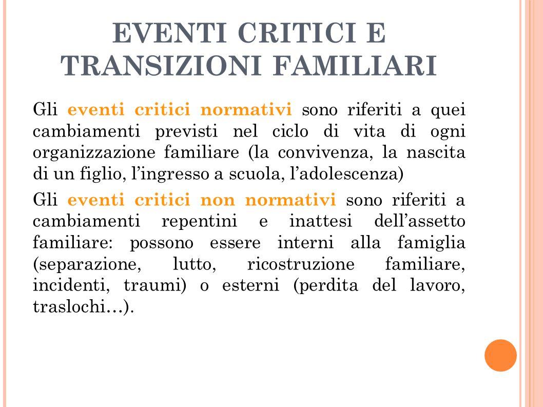 EVENTI CRITICI E TRANSIZIONI FAMILIARI