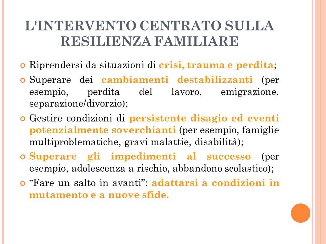 L INTERVENTO CENTRATO SULLA RESILIENZA FAMILIARE