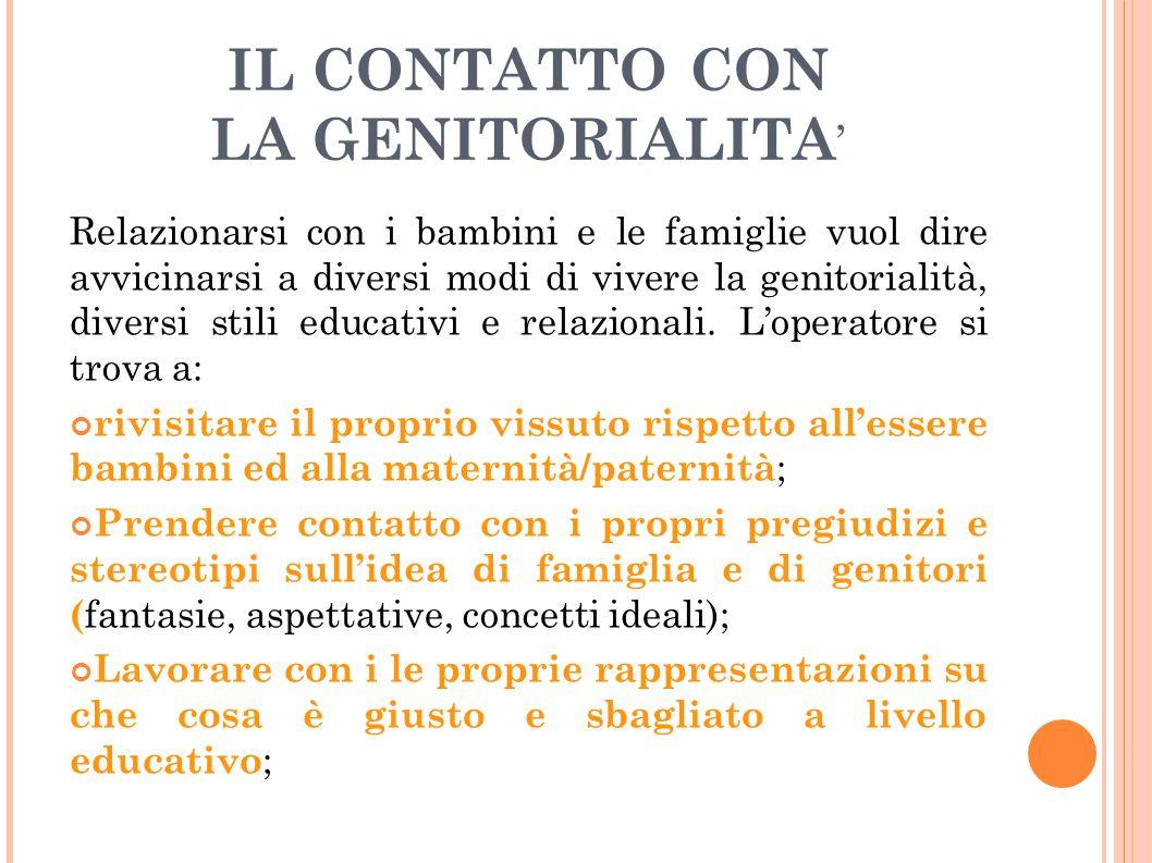 IL CONTATTO CON LA GENITORIALITA'