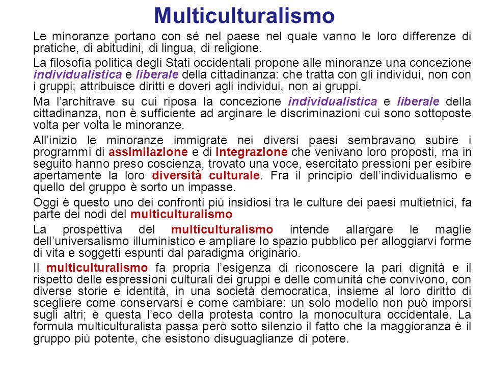Multiculturalismo Le minoranze portano con sé nel paese nel quale vanno le loro differenze di pratiche, di abitudini, di lingua, di religione.